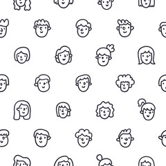 Boys and girls doodle faces seamless pattern