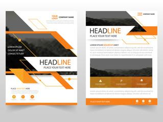Orange Vector business proposal Leaflet Brochure Flyer template design, book cover layout design, abstract business presentation template, a4 size design