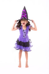 Little witch girl costume isolated on white background, Hallowee