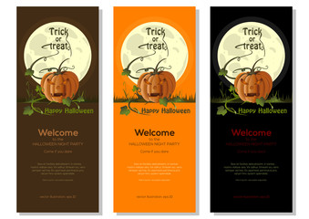 Multicolored Halloween banners set with jack-o'-lantern on a background of the full moon. Vector illustration