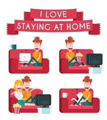 Boy on a Sofa. Staying at Home. Isolated Flat Vector Illustration.
