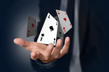 mano, poker, assi, gioco, carte, magia