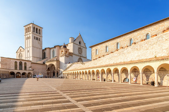 Assisi, Italy. Basilica of St. Francis, XIII century and a portico, XV century. Included in the list of UNESCO