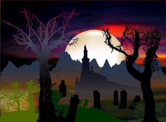 Halloween dark scary landscape with chapel, tombstones and silhouettes of trees. Dark cemetery, dramatic night sky with moonlight and haunted trees