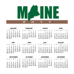 A 2017 creative Maine calendar with the state outline