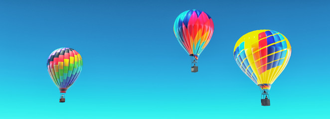 The hot air balloons in blue sky.