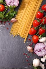 raw spaghetti and ingredient