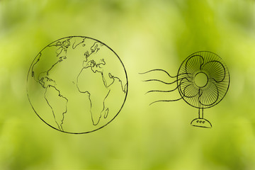 global warming, planet earth and funny electric fan