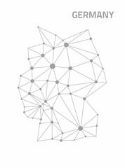 Germany dot grey outline 3d polygon map