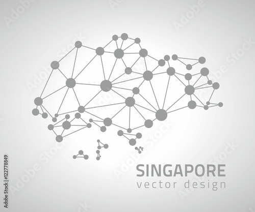 Singapore grey dot mosaic perspective vector map Stock image and