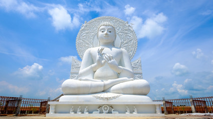 Big white buddha statue ,temple in Saraburi province, Thailand. Photo taken on: 02 Oct , 2016