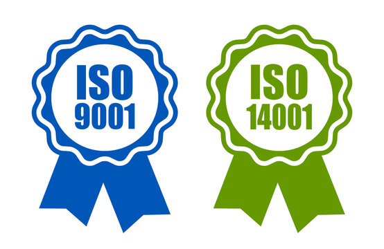 Iso 9001 and 14001 standard certified icons