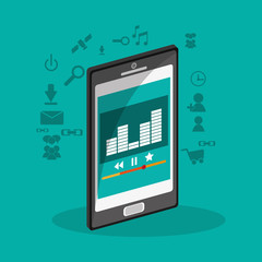 Smartphone and equalizer icon. Music online sound technology and media theme. Colorful design. Vector illustration
