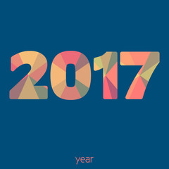 Year 2017. Simple vector graphic pattern. Flat design