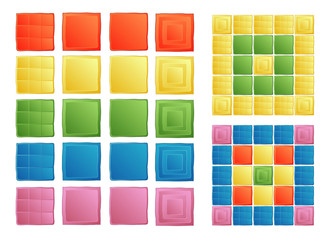 Set of colored squares. Simple buttons for interface, program or website. Different tiles to create patterns of mosaic.