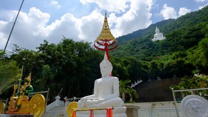 Big white buddha statue on the mountain ,temple in Saraburi province, Thailand. Photo taken on: 02 Oct , 2016