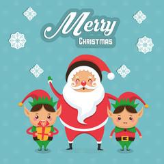 Elf and santa cartoon icon. Merry Christmas season celebration and decoration theme. Colorful design. Vector illustration