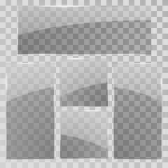Glass panels set. Vector transparent glass banners