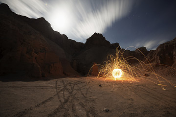 Illuminated wire wool at Goblin Valley State Park
