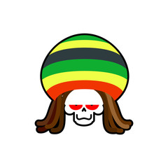 Rasta death. Rastafarian dreadlocks skull and beret. Grim Reaper