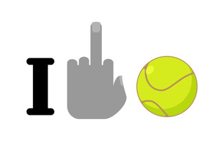 I hate tennis. Fuck symbol of hatred and ball. Logo for anti fan