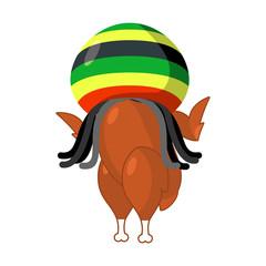 Rasta turkey. Reggae takes and roasted  fowl. Food for Rastafari