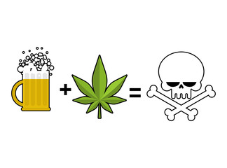 Alcohol and drugs is death. Mug of beer and marijuana leaf is eq