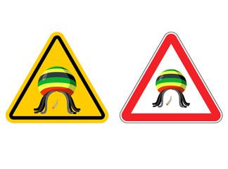Warning sign Rastaman. Attention Stoned drug man. Dangers yellow