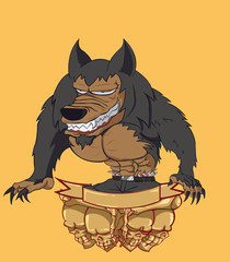 Werewovlf vector and illustration. monster in Halloween night