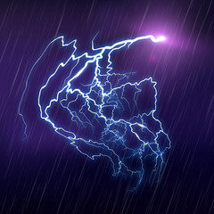 Lightning Background. Rain texture. Vector Illustration