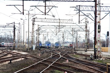 railway track and three locomotives
