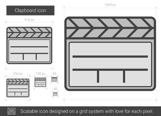 Clapboard line icon.