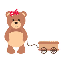 cartoon teddy with a wheelbarrow