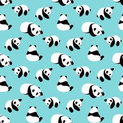 Panda bear vector background. Seamless pattern with cartoon panda.