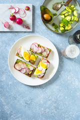 Avocado toast with radishes and boiled egg. Overhead view, copy space.