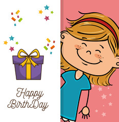 avatar girl smiling and happy birthday gift box. colorful design. vector illustration