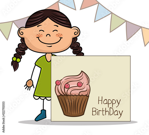 """avatar Girl Smiling And Card With Cupacake. Happy"