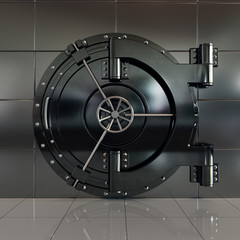 Closed front view bank vault door
