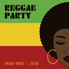 Reggae party event flyer. Creative vintage poster.