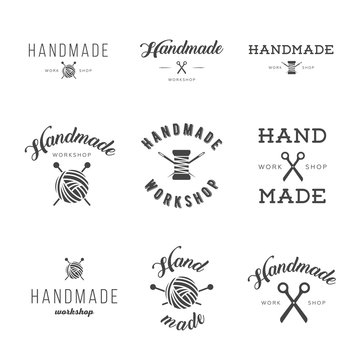 Handmade workshop logo vintage vector set.