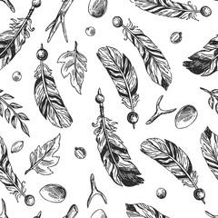 seamless pattern feathers