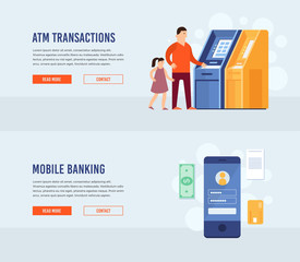 ATM terminal usage. Mobile Banking. Money transfer. Vector illustration. Modern flat design concept for web banners, web sites, printed materials, infographics.