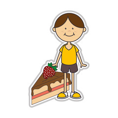 avatar boy smiling with piece of cake sweet dessert. vector illustration