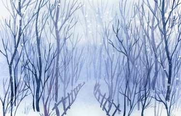 Winter landscape. Watercolor landscape illustration. Christmas b