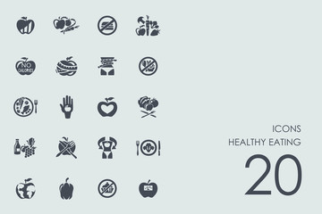 Set of healthy eating icons