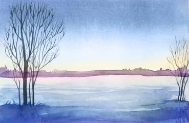 Winter landscape. Watercolor landscape illustration. Christmas b