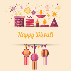 Diwali Hindu festival greeting card design with flat modern elem