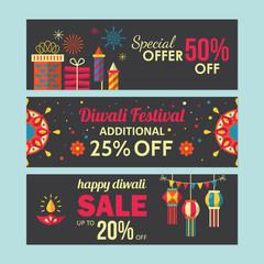 Diwali Hindu festival sale banner design for social media