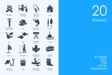 Set of BLUE HAMSTER Library fishing icons