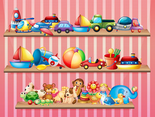 Shelves full of different toys